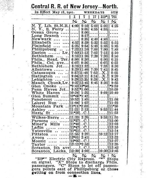 Train Schedule May 18, 1901